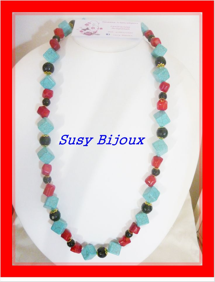 Necklace made with pasta beads of turquoise, coral bamboo and onyx