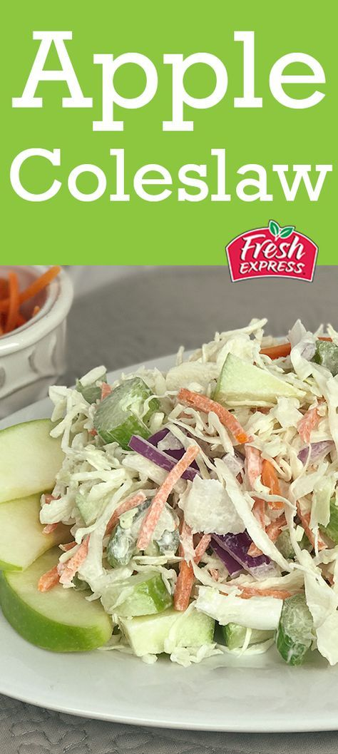 This fall coleslaw recipe with apples is the perfect seasonal side dish. Just mix Fresh Express Angel Hair Coleslaw with Chiquita apple bites, celery, carrot, onion and a homemade mayo & sour cream dressing.