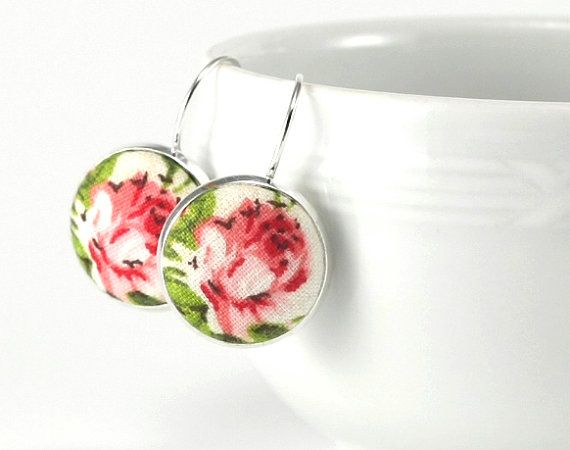 Red Roses  Pink White Flower Green Leaves  by PatchworkMillJewelry