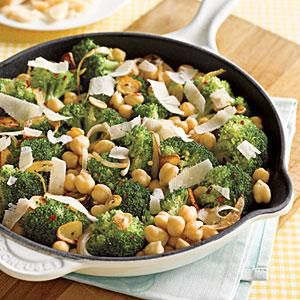 Sautéed Chickpeas with Broccoli and Parmesan   MyRecipes.com