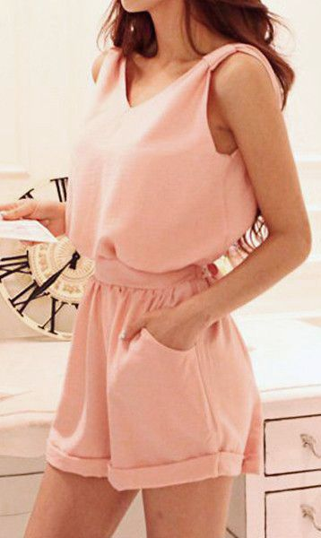 Baby Pink Bow Cutout Back - Chic Sleeveless Romper