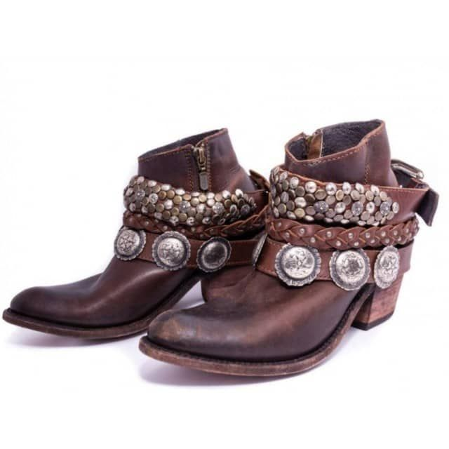 """Western with a boho, gypsy vibe! These Liberty Black Res Toscano T-Moro Boots are simply darling! Featuring 2 removablestudded boot bracelets and a traditional rounded toe. These boots are extremely comfortable! The shaft on this boot measures approx. 5.5"""" shaft and approx. 3"""" heel."""
