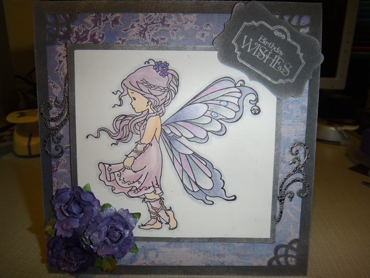 [Whimsy stamps - Silver fairy] Birthday card - colored with copics and massive use of blender marker+glitter pens