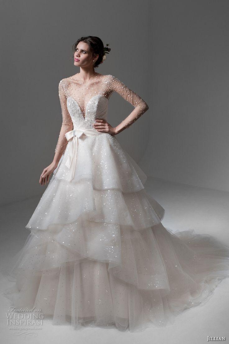 jillian 2017 bridal long sleeves illusion jewel deep plunging sweetheart neckline romantic princess cream color tiered a  line wedding dress chapel train (marta) mv