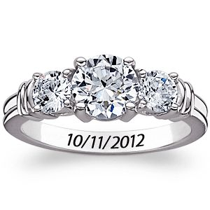 Buy Sterling Silver CZ Trio Engraved Promise Ring at Limoges
