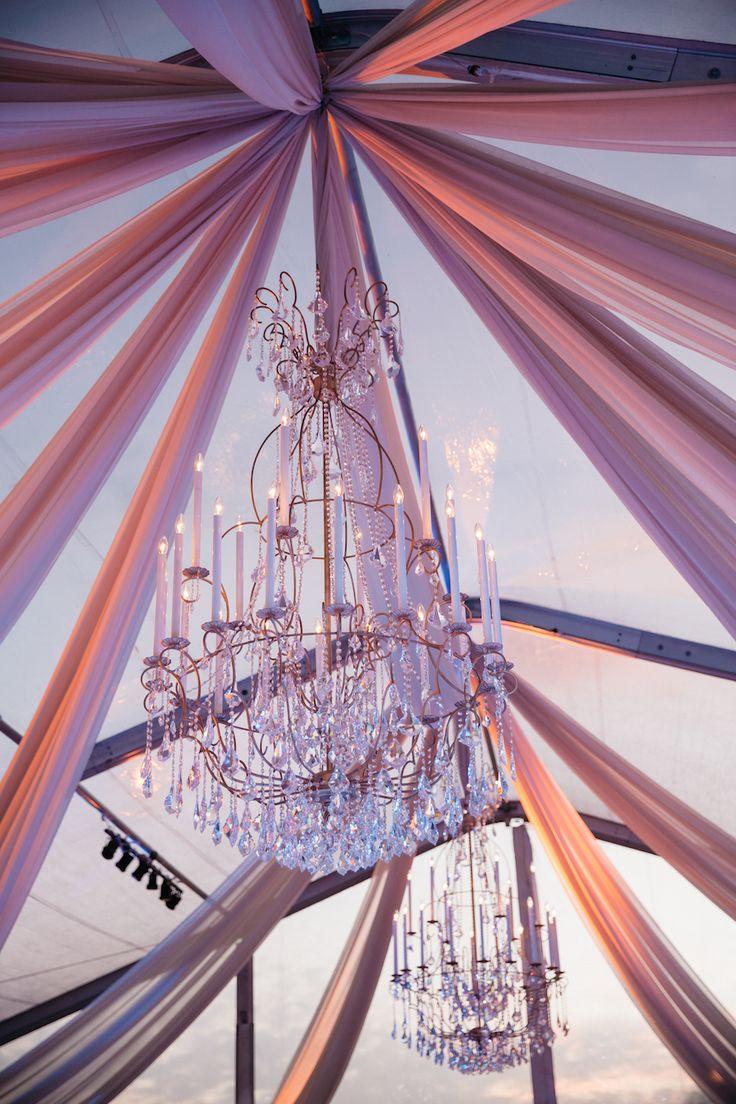 Pantone's ColorS 2016:  Rose Quartz and Serenity blue wedding ceiling decorations against sky....Beautiful !!!