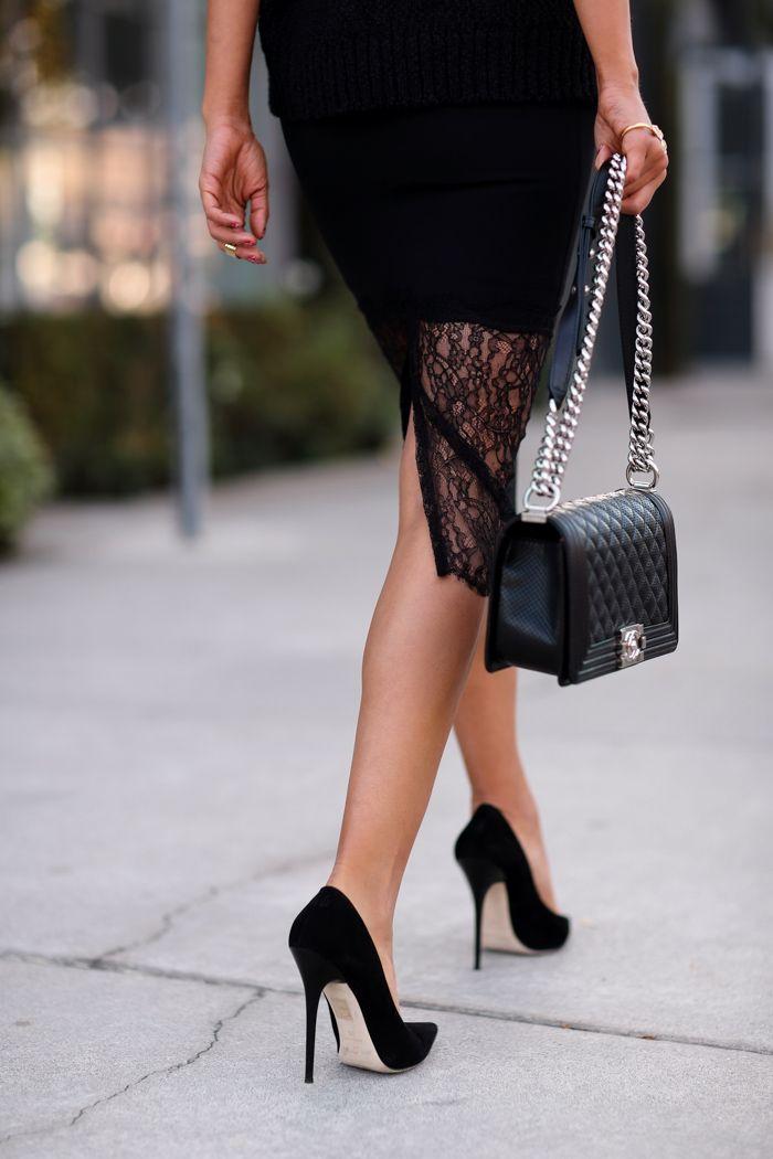 Viva Luxury - lace trim skirt | Banana Republic sweater | Jimmy Choo Anouk suede pumps | All Black Everything http://FashionCognoscente.blogspot.com