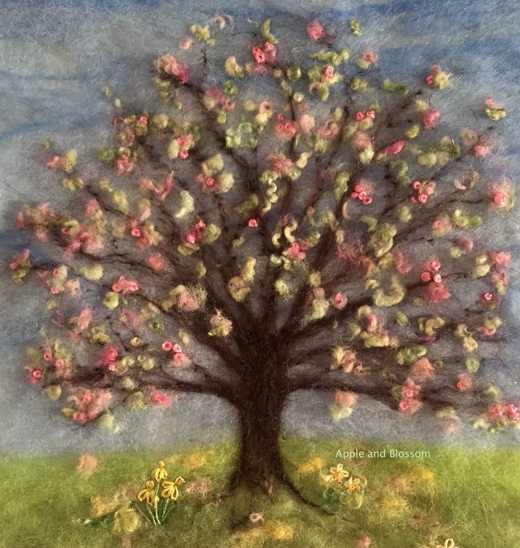 'Springtime' Embroidered Painting With Wool created by Mary Spence at https://www.facebook.com/220736741410646/photos/a.222630257887961.1073741827.220736741410646/447077675443217/?type=1&theater