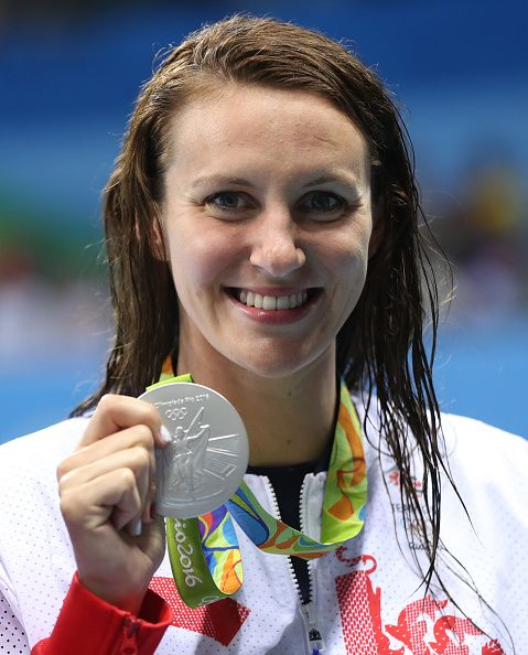 Jazz Carlin of Great Britain poses with her Silver medal from the Women's 400m Freestyle during Day 2 of the Rio 2016 Olympic Games at…