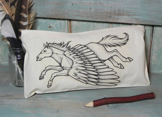 Pegasus Constellation Illustration Cotton Zipper by LyndseyGreen