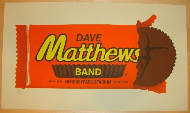 "Dave Matthews Band - silkscreen concert poster (click image for more detail) Artist: Methane Studios Venue: Hershey Park Stadium Location: Hershey, PA Concert Date: 7/24/2009 Size: 24"" x 16"" Edition:"
