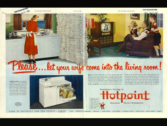 After perusing this Hotpoint ad from 1950, we're only surprised that more wives didn't come into the living room brandishing a shotgun.Share this on Facebook?