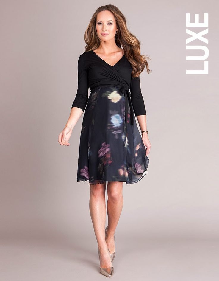 Fusing stunning printed silk with an easy wrap style, this maternity dress is a failsafe eveningwear option for before, during & after pregnancy. The luxurious silk skirt flows beautifully over your curves, creating a flattering A-line silhouette. The chic black top is made in our signature stretch jersey and the classic wrap design creates a chic crossover v neckline, which opens up to provide discreet access for nursing after baby is born.
