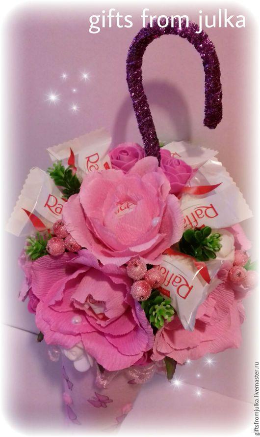 """Букеты ручной работы. Ярмарка Мастеров - ручная работа. Купить Зонтик из конфет """" Бабочки"""". Handmade. Розовый, зонт из конфет"""