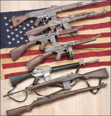 Thompson, stg44, m1 garand, ak47, m16, m14
