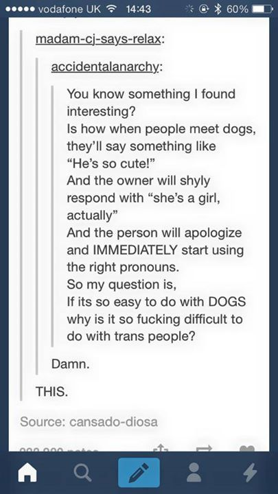 "You know something I found interesting? Is how when people meet dogs, they'll say something like ""He's so cute!"" And the owner will shyly respond with ""she's a girl, actually."" And the person will apologize..."" [Click on this image to find a video and discussion that attempts to tackle some of the discourse surrounding the way pronouns are deployed as a means of exclusion] Source: cansado-diosa (http://riniikki.tumblr.com/post/107819977035/cansado-diosa-you-know-something-i-found), 1/11/15"