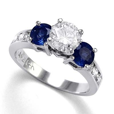 Saphires mean eternal love, diamonds means forever, so they make up the perfect ring :)