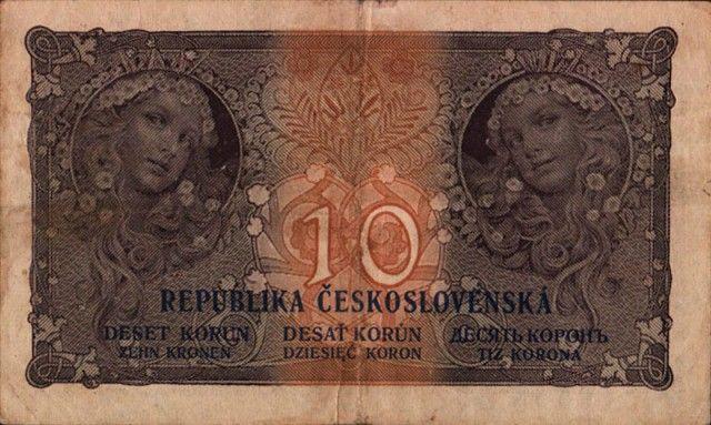 После провозглашения в 1918 году Республики, Альфонсу Мухе было поручено изготовление первых чехословацких почтовых марок, денежных знаков и государственного герба.