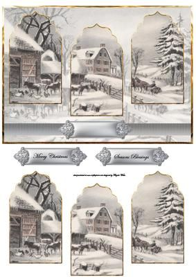 Winter on the farm at Christmas card with panels on Craftsuprint designed by Angela Wake - Winter on the farm at Christmas card with arch panels and sentiment tags - Now available for download!