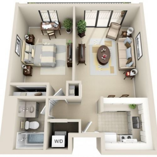 Ber ideen zu wohnungsgrundrisse auf pinterest sims for Cute one bedroom apartment ideas