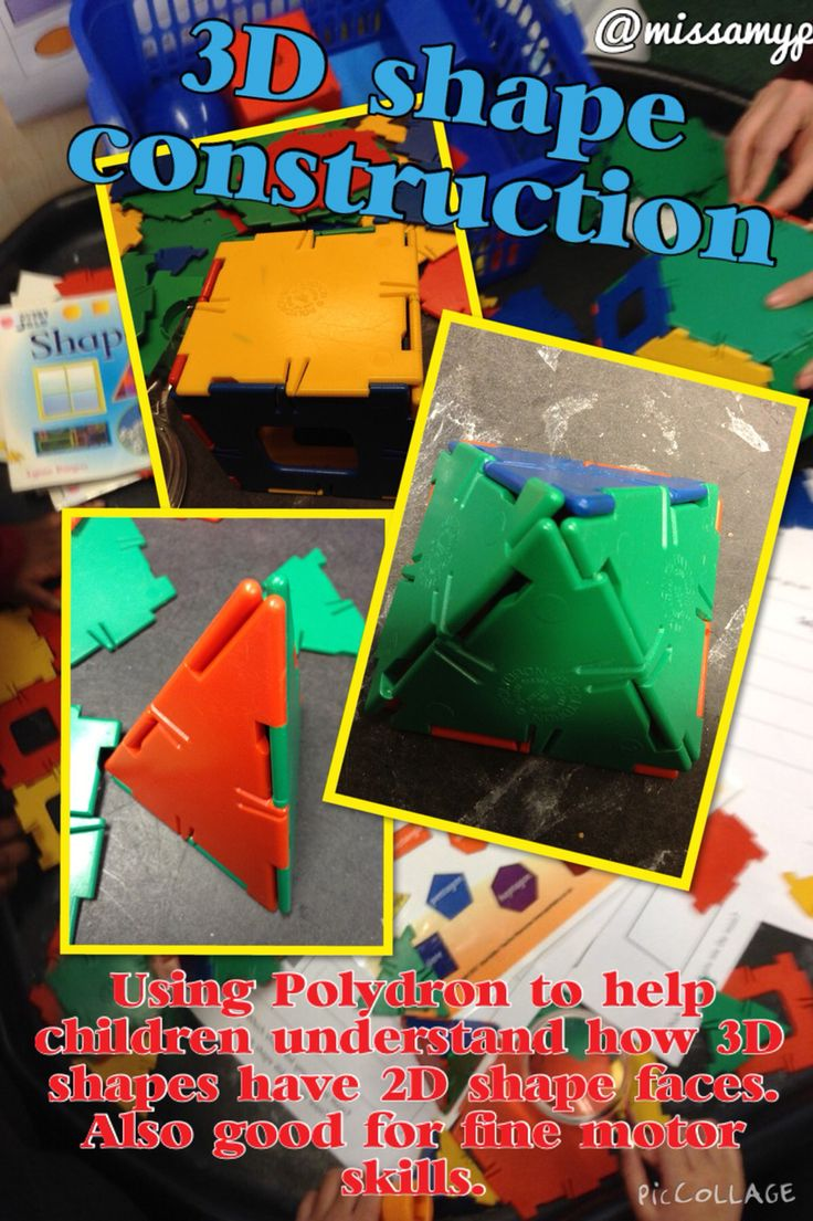 3-d shape construction from Polydron making the connection between 2-d and 3-d shapes. Encourages children to use he correct language. Also great for fine motor. (@missamyp)
