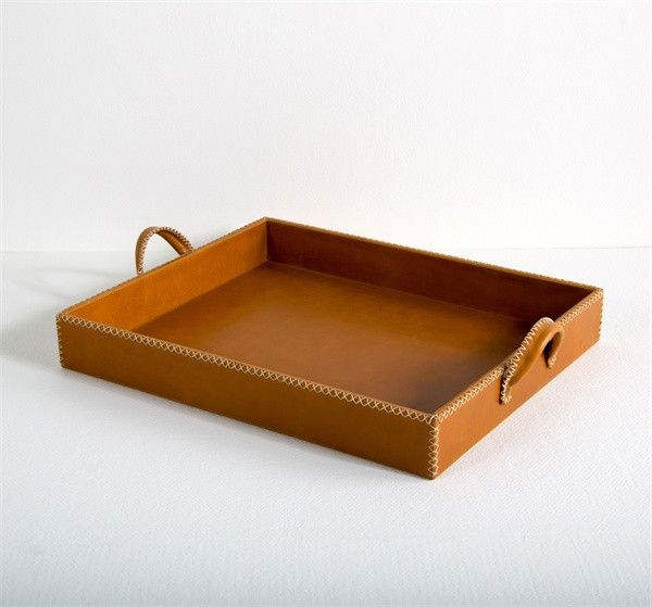 Interlude Greer Grand Leather Tray. Twine stitching turns a cream leather and tan leather tray into a totally chic, classic accent that looks fabulous with any existing decor style. – Modish Store
