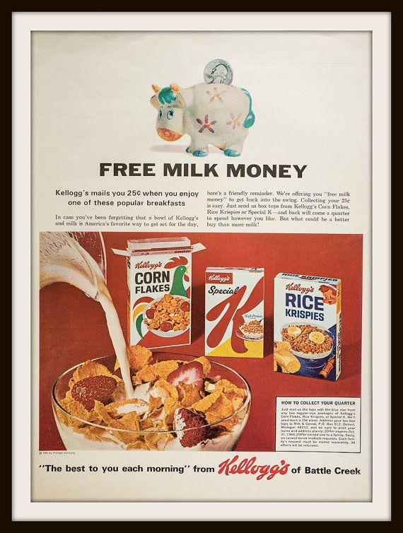 Fun Kellogg's Advertisement from 1966. Vintage by vintageadsnprints on Etsy. Kellogg's Corn Flakes, Kellogg's Special K, Kellogg's Rice krispies.