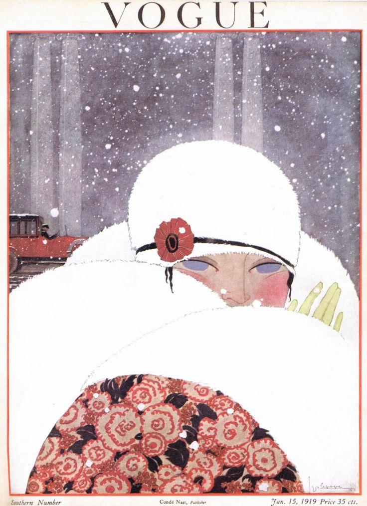 vogue couverture cover hiver winter année 30 élégance femme blanc white bonnet écharpe