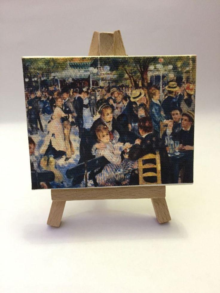 Miniatura Quadro 9x7 Cm Renoir   Ballo Al Moulin De La Gallette  Su Cavalletto