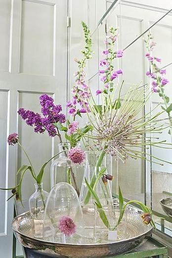 Hier word je vrolijk van! Paarse bloemen in verschillende glazen vaasjes.