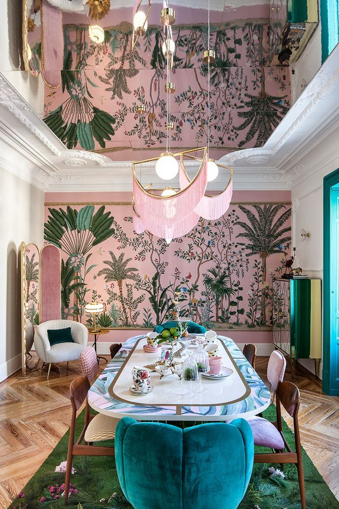 Dining room | no pink tho, maybe light mustard instead | def different wallpaper | rose gold chandelier | LOVE velvet chairs | mirrored ceiling