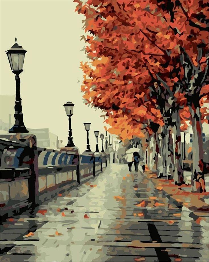 Pintura al óleo digital pintura al óleo diy por kits de los números de otoño lienzo sin marco decoración de la pared 40x50cm en Banggood