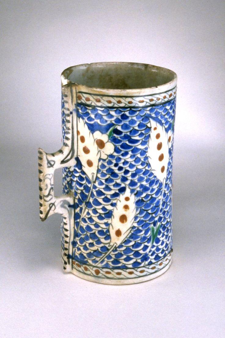 vessel; tankard; Ottoman dynasty; 16thC; Iznik