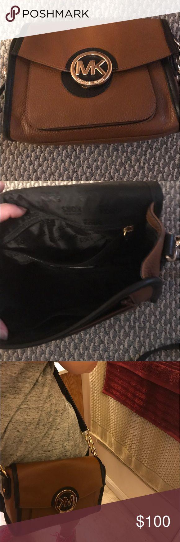 6044dcd0d3a6 used black michael kors tote black mk purses with tan stripes ...
