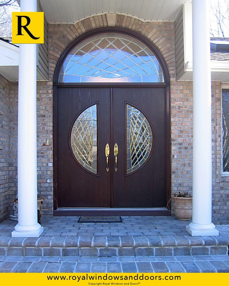 Double Entry Door , Wood Finish, Transom, Designer Glass