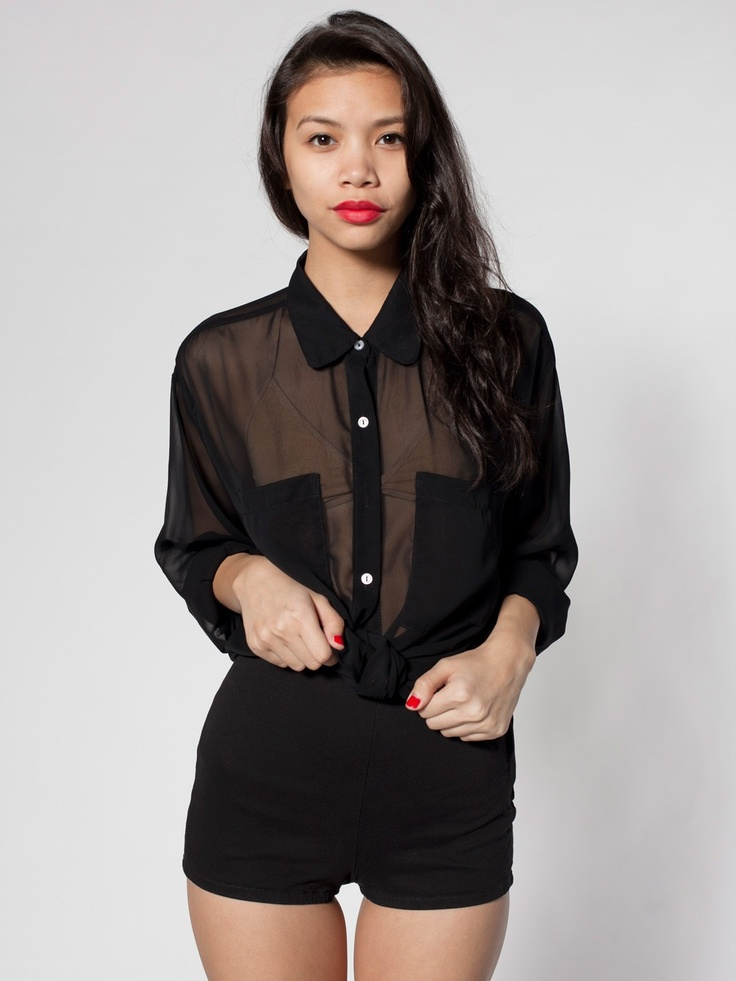American Apparel Chiffon Oversized Button-Up in Black