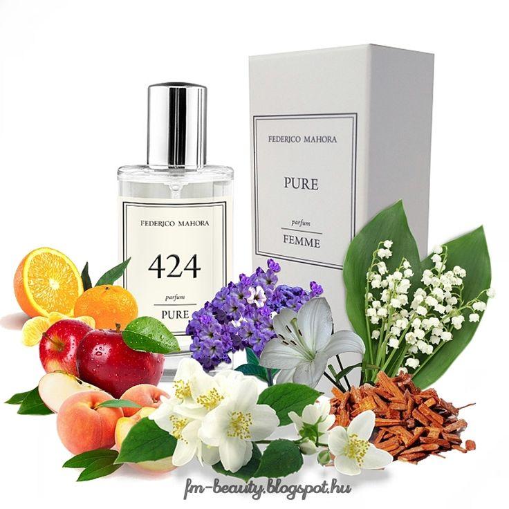FM424 PURE női parfüm-Weil-Greedy Essence-szerű illat.  Fiatalos, lendületes, kedves, kifejező illat virágos jegyekkel.  Illatcsalád: keleties- virágos. Fejjegyek: mandarin, alma, őszibarack. Szívjegyek: jázmin, liliom, gyöngyvirág. Alapjegyek: szantálfa, vanília, pézsma, kunkor.