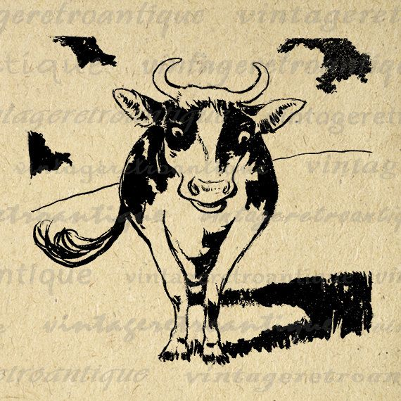 Digital Graphic Cow Image Farm Animal Download Printable Vintage Clip Art Jpg Png Eps 18x18 HQ 300dpi No.2015 @ vintageretroantique.etsy.com