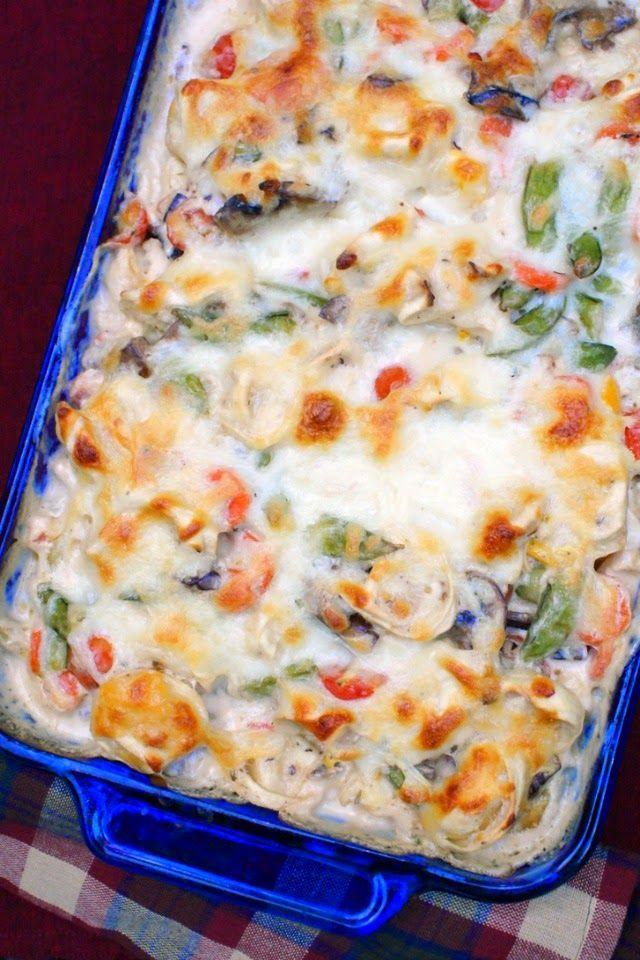 Tortellini and Garden Vegetable Bake | thetwobiteclub.com     (Omit mushrooms!)