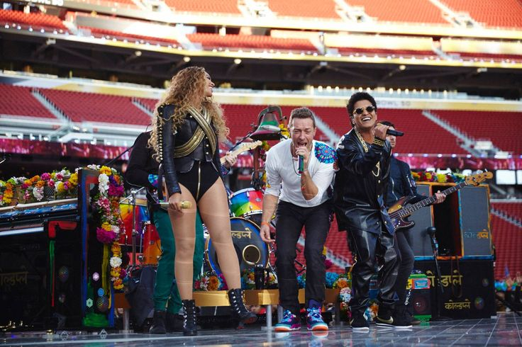 Bruno Mars, Beyoncé, and Chris Martin rehearsing for the Super Bowl 50 Halftime Show.