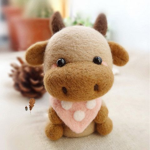 Needle Felted Felting Wool Animals Brown Cow Cute Craft