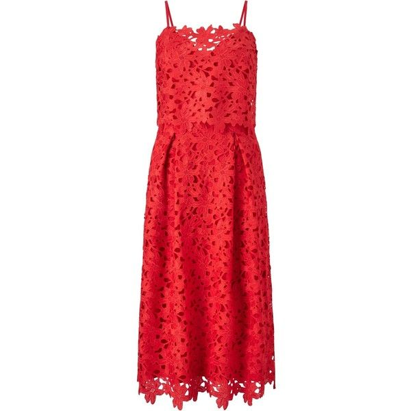 Somerset by Alice Temperley Flared Lace Dress (£80) ❤ liked on Polyvore featuring dresses, red mini dress, lace maxi dress, red cocktail dress, sweetheart neckline cocktail dress and red lace cocktail dress
