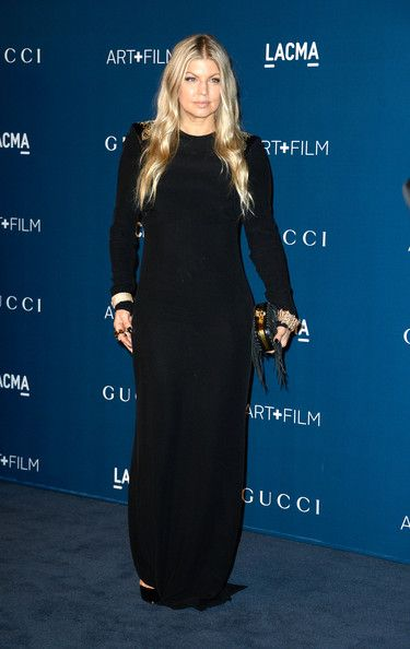 Fergie Evening Dress - Fergie attended the LACMA Art + Film Gala wearing a simple yet elegant long-sleeve black evening dress by Versace.