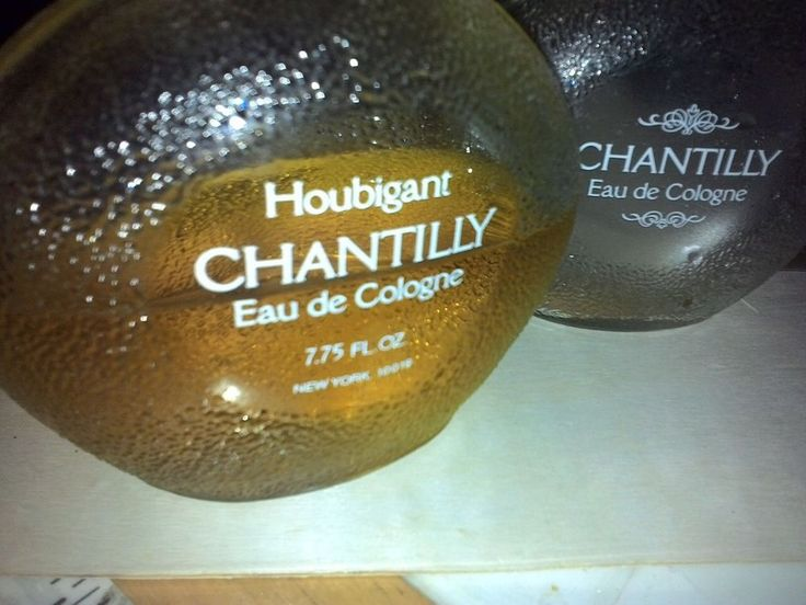 CHANTILLY HOUBIGANT EAU DE COLOGNE VINTAGE BOTTLES 1 EMPTY 1 HALF FULL. 7.75 OZ. #Chantilly
