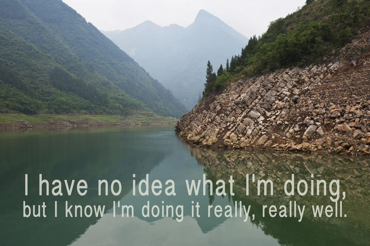 """I have no idea what I'm doing, but I know I'm doing it really really well."" 