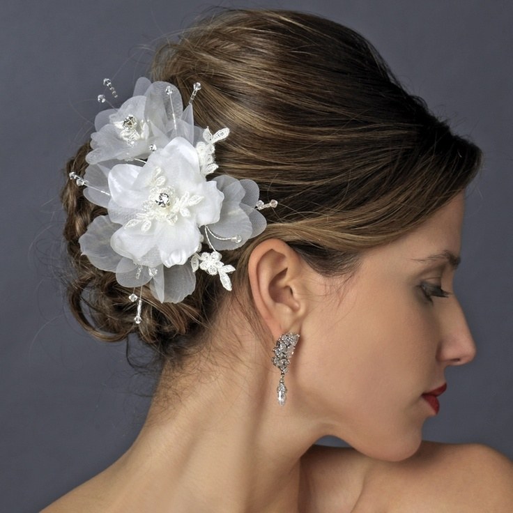 crystal lace and organza fabric wedding hair clip