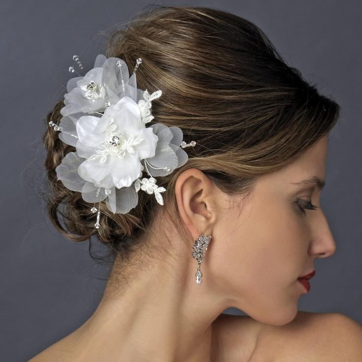 Crystal, Lace and Organza Fabric Wedding Hair Clip