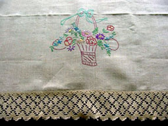 Unused Embroidered Linen & Lace Sofa Back c.1930 by chalcroft, $16.00