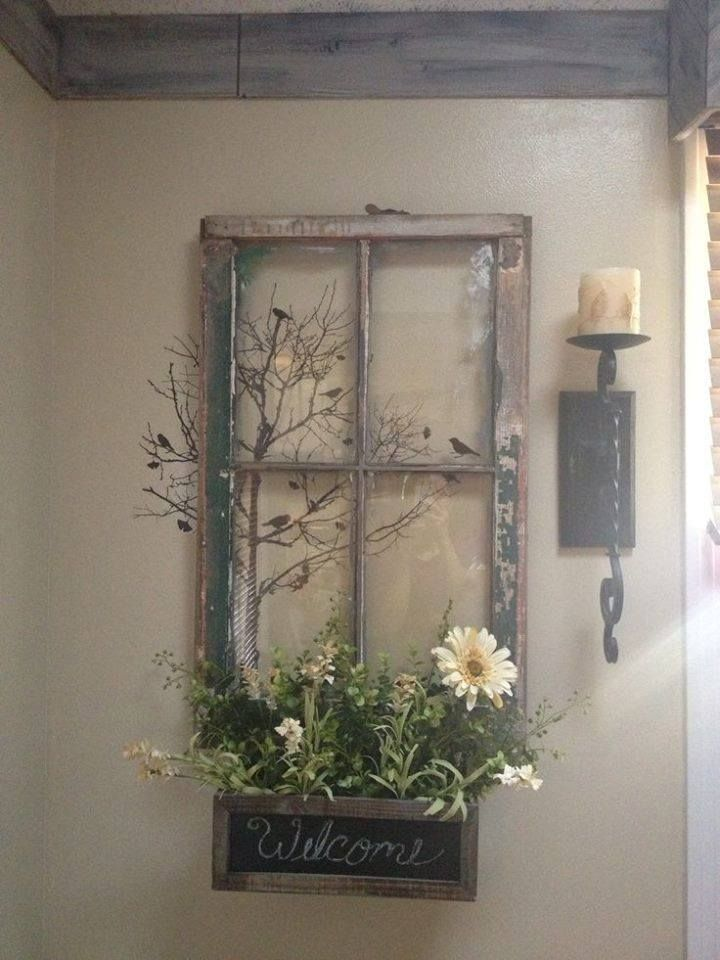 DECOR IDEA -old wood window /frame and window planter box with candle wall sconce