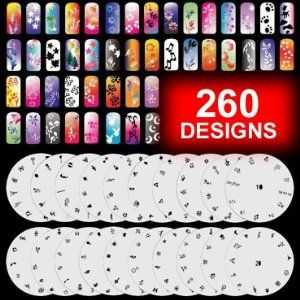 """20 Airbrush Nail Stencil Sheets Design Art Paint Pages 1-20 by AirHobby. $21.90. Each sheet has approximately 12-13 pattern. Stencils are extremely flexible. Can use on natural or artificial nails. 20 individual nail stencil sheets. 260 pattern total. 20 Sheet of Airbrush Nail Art Stencil. Professional-grade, airbrush nail-art stencil set. Each sheet has approximately 12-13 designs. Design can used separately, or combine several patterns. Along with each stencil sheet, a 3"""" x ..."""